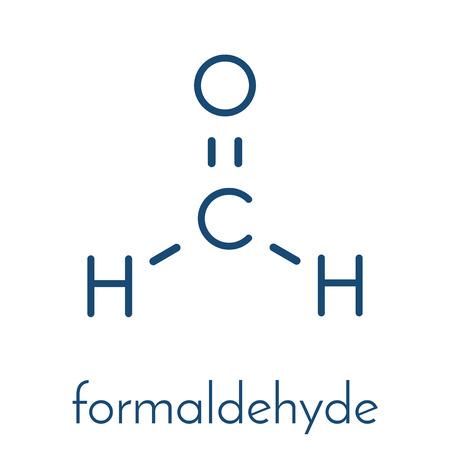 Formaldehyde (methanal) molecule. Important indoor pollutant. Skeletal formula. Illustration
