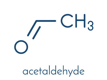 Acetaldehyde molecule, chemical structure. Illustration