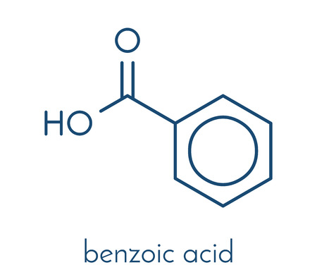 安息香酸分子。安息香酸塩は、食品の防腐剤として使用されます。骨格式。