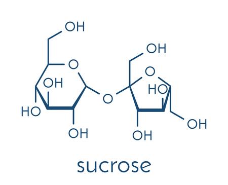 Sucrose sugar molecule. Also known as table sugar, cane sugar or beet sugar. Skeletal formula. Illustration