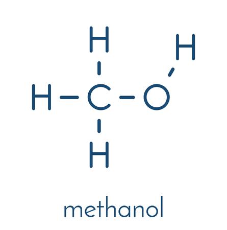 Methanol (methyl alcohol, MeOH) molecule. Highly toxic. Skeletal formula. Illustration