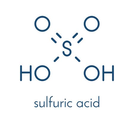 Sulfuric acid strong mineral acid molecule. Illustration