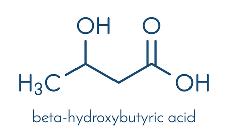 Beta-hydroxybutyric acid (beta-hydroxybutyrate) molecule. Skeletal formula.