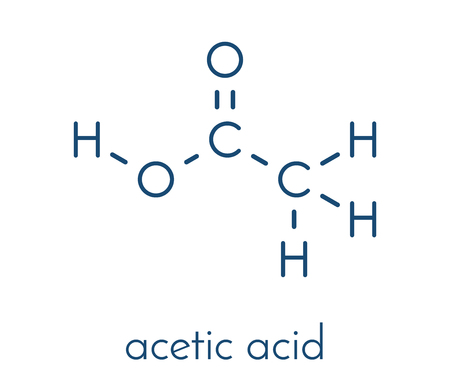 Acetic acid molecule. Vinegar is an aqueous solution of acetic acid. Skeletal formula. Ilustrace