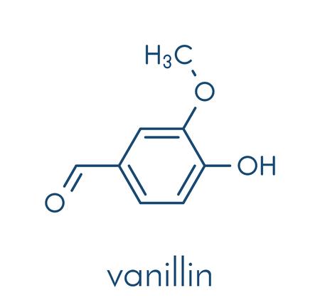 Vanillin vanilla extract molecule. Skeletal formula. Illustration