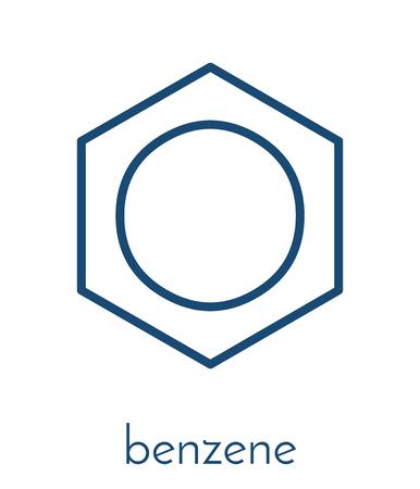 Benzene aromatic hydrocarbon molecule. Important in petrochemistry, component of gasoline.