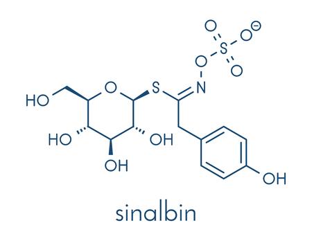 Sinalbin glucosinolate 분자. 흰 겨자의 종자 (시 나 피스 알바). 골격 공식. 일러스트