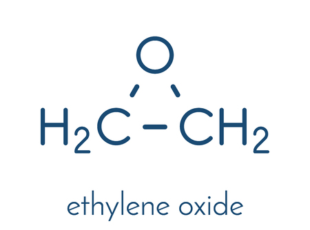 Ethylene oxide (oxirane) molecule. Uses include sterilization of medical devices and as a precursor of polymers. Skeletal formula. Çizim