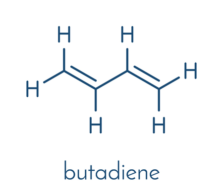 Butadiene (1,3-butadiene) synthetic rubber building block molecule. Used in synthesis of polybutadiene, ABS and other polymeric materials. Skeletal formula. Illustration