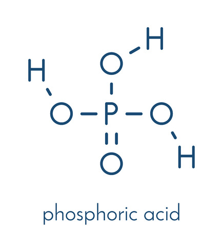 Molecola dell'acido minerale acido fosforico. Utilizzato nella produzione di fertilizzanti, tamponi biologici, come additivo alimentare, ecc. Formula scheletrica. Archivio Fotografico - 85870648