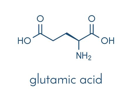 글루탐산 (l- 글루탐산, Glu, E) 아미노산 및 신경 전달 물질 분자. 골격 공식.