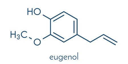 anaesthetic: Eugenol herbal essential oil molecule. Present in cloves, nutmeg, etc. Skeletal formula.