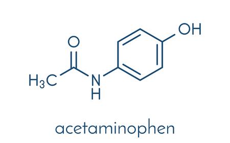 Paracetamol (acetaminophen) analgesic drug molecule. Used to reduce fever and relieve pain. Skeletal formula.