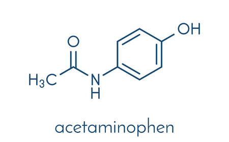 Paracetamol (acetaminophen) analgesic drug molecule. Used to reduce fever and relieve pain. Skeletal formula.