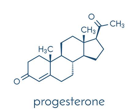 Progestérone, molécule d?hormone sexuelle féminine. Joue un rôle dans le cycle menstruel et la grossesse. Formule squelettique. Banque d'images - 85870668