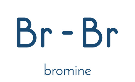atomic: Elemental bromine (Br2) molecule. Skeletal formula.