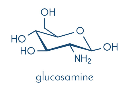 Glucosamine dietary supplement molecule. Illustration