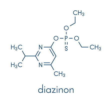 Diazinon organophosphate insecticide molecule. Ilustração