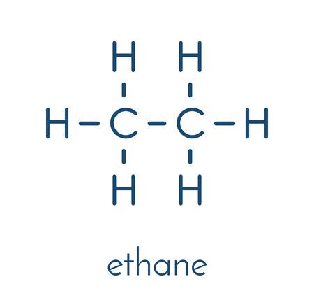 Ethane natural gas component molecule. Skeletal formula.
