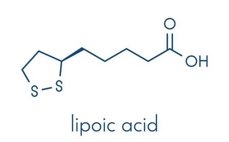 Lipoic acid 효소 cofactor 분자. 많은 영양 보충 교재에서 선물하십시오. 항산화, 노화 방지 및 체중 감량 효과가 있다고 믿어집니다. 골격 공식.