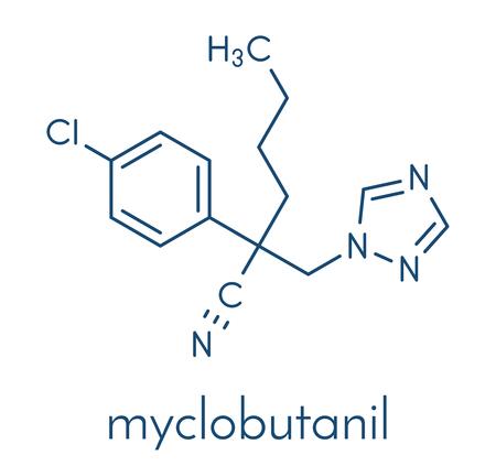 Myclobutanil antifungal molecule (triazole class). Skeletal formula.