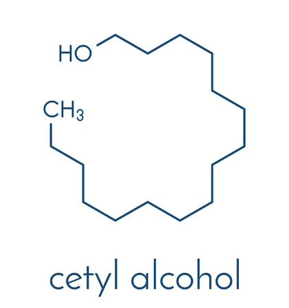 Cetyl (of palmityl) alcoholmolecuul. Bestanddeel van cetostearylalcohol (cetearylalcohol, cetylstearylalcohol). Skeletachtige formule. Stock Illustratie