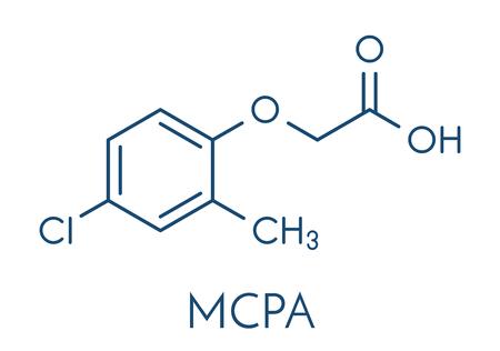 atomic: MCPA (2-methyl-4-chlorophenoxyacetic acid) herbicide molecule. Skeletal formula. Illustration