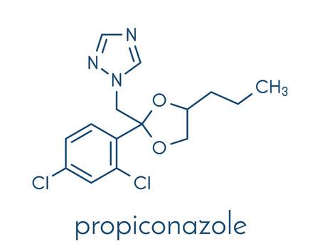 Propiconazole antifungal molecule (triazole class). Skeletal formula.