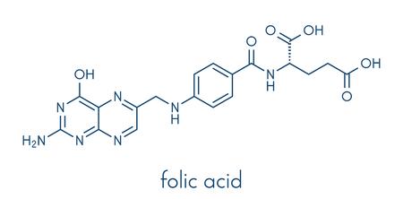 atomic: Vitamin B9 (folic acid) molecule. Skeletal formula. Illustration