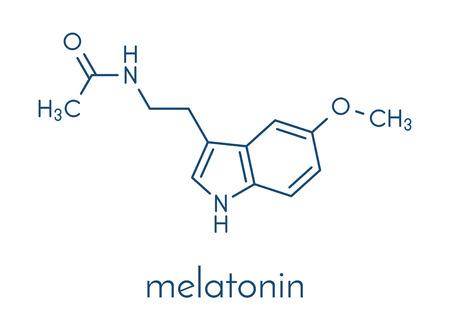 Melatonin hormone molecule. In humans, it plays a role in circadian rhythm synchronization. Skeletal formula. Illustration
