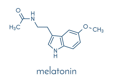 Melatonin hormone molecule. In humans, it plays a role in circadian rhythm synchronization. Skeletal formula. Illustration