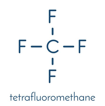 refrigerant: Tetrafluoromethane (carbon tetrafluoride, CF4) greenhouse gas molecule. Skeletal formula.