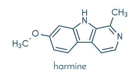 Harmine alkaloid molecule. Herbal inhibitor of monoamine oxidase A. (MAO-A). Skeletal formula. Illustration