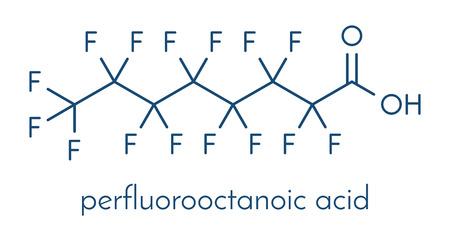 Perfluorooctanoic acid (PFOA, perfluorooctanoate) carcinogenic pollutant molecule. Skeletal formula. Illustration