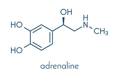 Adrenaline (adrenalin, epinephrine) neurotransmitter molecule. Used as drug in treatment of anaphylaxis Skeletal formula.