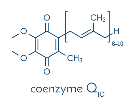 Coenzyme Q10 (ubiquinone, ubidecarenone, CoQ10) molecule, chemical structure. Plays an essential role in the production of cellular energy; has antioxidant properties. Skeletal formula.