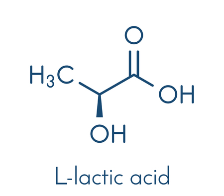 Lactic acid (L-lactic acid) milk sugar molecule. Building block of polylactic acid (PLA) bioplastic. Found in milk. Skeletal formula.