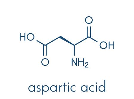 Aspartic acid (L-aspartic acid, Asp, D) amino acid molecule. Skeletal formula.