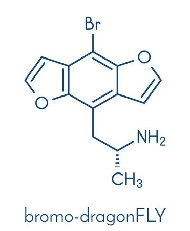 atomic: Bromo-dragonFLY hallucinogenic drug molecule. Skeletal formula.