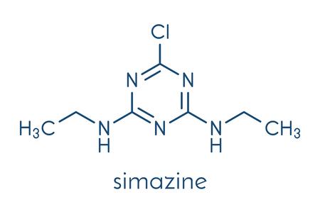 Simazine herbicide molecule. Skeletformule.