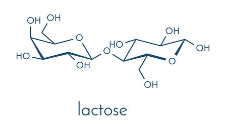 disaccharide: Lactose milk sugar molecule. Skeletal formula. Illustration