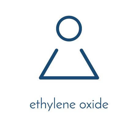 Ethylene oxide (oxirane) molecule. Uses include sterilization of medical devices and as a precursor of polymers. Skeletal formula. Illustration