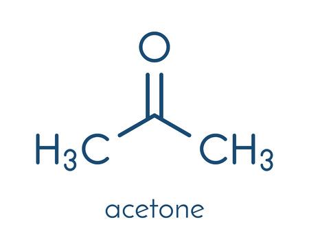 atomic: Acetone solvent molecule. Organic solvent used in nail polish remover. Skeletal formula. Illustration
