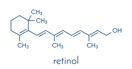 Vitamin A (retinol) molecule. Skeletal formula. Illustration