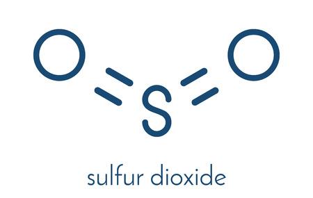 Molécule de conservation du dioxyde de soufre (E220). Également utilisé dans la vinification et responsable des sulfites dans le vin. Formule squelettique. Vecteurs