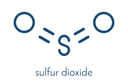 refrigerant: Sulfur dioxide food preservative molecule (E220). Also used in winemaking and responsible for sulfites in wine. Skeletal formula.