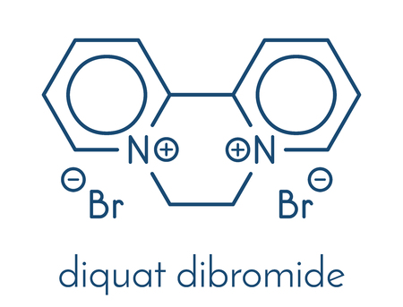 Diquat-Dibromid-Kontaktherbizidmolekül. Skelettformel. Standard-Bild - 85870765