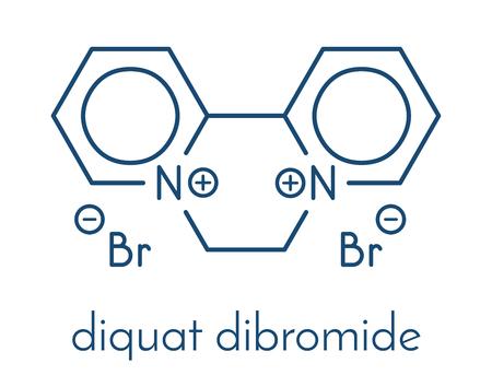atomic: Diquat dibromide contact herbicide molecule. Skeletal formula. Illustration