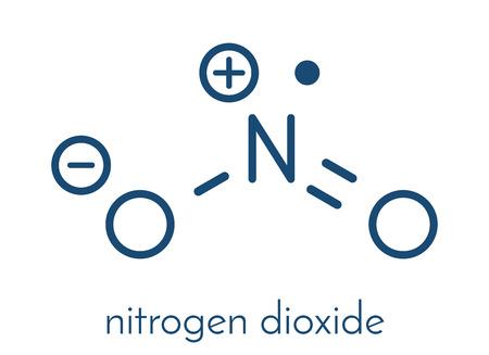 atomic: Nitrogen dioxide (NO2) air pollution molecule. Free radical compound, also known as NOx. Skeletal formula. Illustration