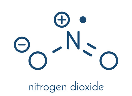 Nitrogen dioxide (NO2) air pollution molecule. Free radical compound, also known as NOx. Skeletal formula. Stock Illustratie